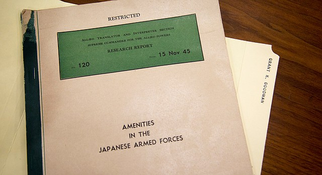 """Research Report No. 120: Amenities in the Japanese Armed Forces"" is part of former KU professor Grant Goodman's personal papers, now archived at KU's Spencer Research Library. The report, which Goodman translated for the U.S. Army during World War II, proves Japan had government-controlled brothels — featuring enslaved ""comfort girls"" from across Asia — specifically for its military men's pleasure during World War II."