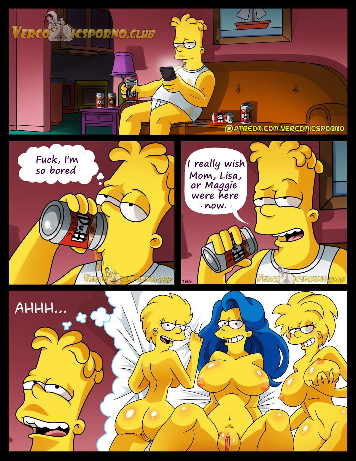 """3D Porno Simpson there's no sex without """"ex"""" (simpsons) english 