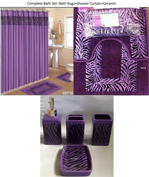 19 piece zebra purple bathroom set world products mart