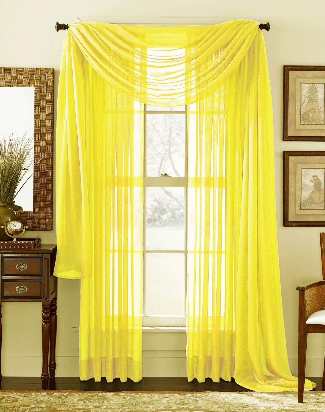 3 piece yellow sheer voile curtain panel set