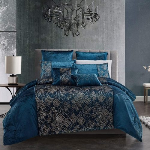 wpm 7 piece teal blue gold comforter set luxury royal bedding bed in a bag with euro shams decorative pillows kala