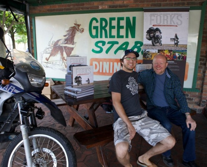 Green Dot Stables' owner Jacques Driscoll with Allan Karl on the patio.