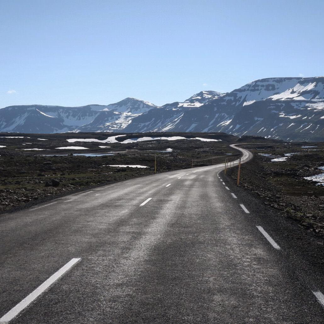 The road from Egilsstaðir to Seyðisfjörður in rugged eastern Iceland.