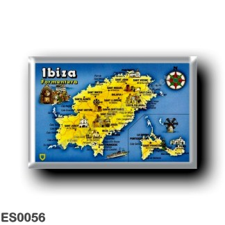 ES0056 Europe - Spain - Balearic Islands - Ibiza - Eivissa - topographic map