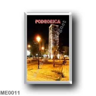 ME0011 Europe - Montenegro - Podgorica - The Clock Tower at Night
