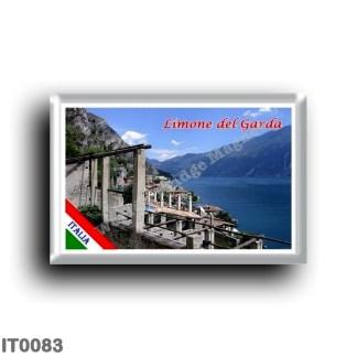 IT 0083 Europe - Italy - Lake Garda - Limone del Garda (flag) - Panorama