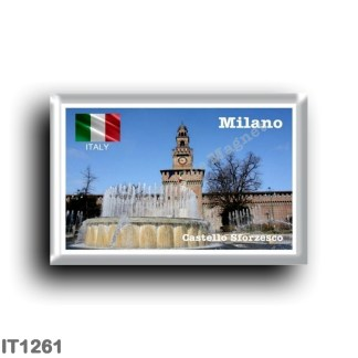 IT1261 Europe - Italy - Lombardy - Milan - Sforzesco Castle - Fountain