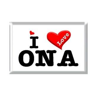 I Love ONA rectangular refrigerator magnet