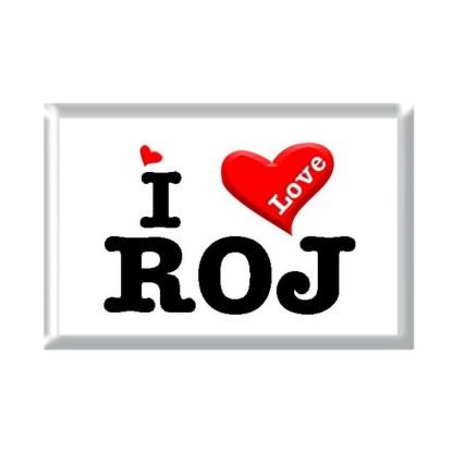 I Love ROJ rectangular refrigerator magnet