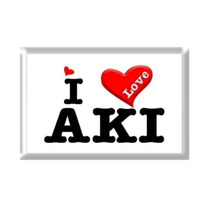 I Love AKI rectangular refrigerator magnet