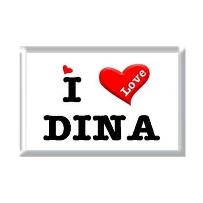 I Love DINA rectangular refrigerator magnet