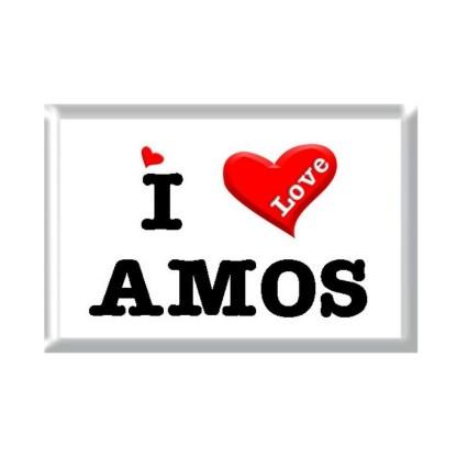 I Love AMOS rectangular refrigerator magnet