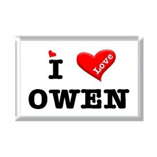 I Love OWEN rectangular refrigerator magnet