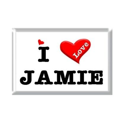 I Love JAMIE rectangular refrigerator magnet