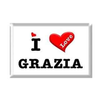 I Love GRAZIA rectangular refrigerator magnet