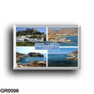 GR - Rhodes - Kolymbia the Harbor - Faliraki - Rhodes SkalaKamirou tang - Lindos whit Acropoli - rectangular refrigerator magnet