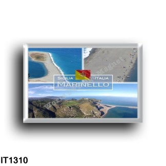 IT1310 Europe - Italy - Sicily - Marinello Nature Reserve - Panorama - Sanctuary of the Black Madonna - Beach - High angle view