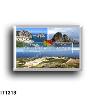 IT1313 Europe - Italy - Sicily - Scopello - Gulf of Castellammare - The Faraglioni and Tonnara - Panorama - High view