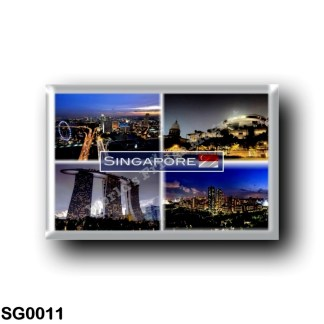 SG0011 Asia - Singapore - by Night - View of Flyer from the Skypark - View of the 3 Main Tower - High-rise HDB flats in Bishan