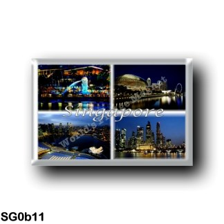 SG0b11 Asia - Singapore - by night - symbol of Singapore, the Merlion - View of the 3 Main Tower - View of the CBD skyline - Pan