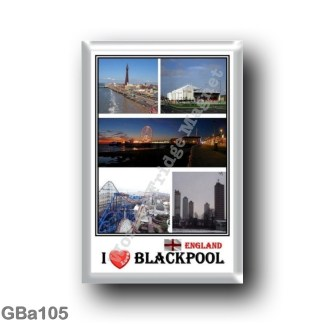 GBa105 Europe - England - Blackpool - I Love Mosaic - Promenade - beach and tower - View at night - Attractions in Blackpool - P