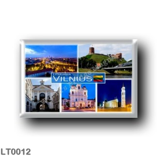 LT0012 Europe - Lithuania - Vilnius - Skyline Of Vilnius at night - Upper Castle Remains - Gate of Dawn - Church Saint Casimir -