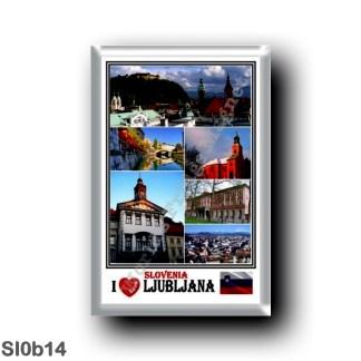 SI0b14 Europe - Ljubljana - I Love Mosaic - Panorama - The Triple Bridge and Ljubljana River - Casino Building