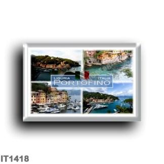 IT1418 Europe - Italy - Liguria - Portofino - Bay - Pier and Cliff - Aerial View - Panorama