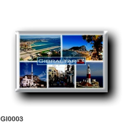 GI0003 Europe - Gibraltar - Aerial View - Rock - The Ibrahim al Ibrahim Mosque was a gift from King Fahd of Saudi Arabia - Main