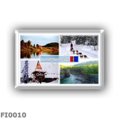FI0010 - Europe - Finland - Lapland - Lake Inari - Lammintupa - Santa Claus Village in Rovaniemi - Nabisko N.P. - Sami Flag