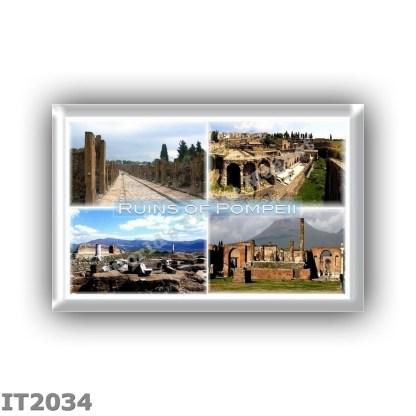 IT2034 - Europe - Italy - Naples - Pompeii - Ruins of Pompei - way of abundance - Hafen - Temple of Venus - Pompei and Vesuvius