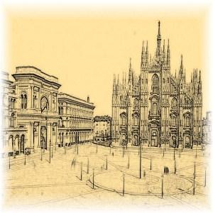 Piazza del Duomo Milan - sepia