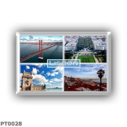 PT0028 Europe - Lisbon - Portugal - Lisbon - The 25 de Abril Bridge - Tagus River - Avenida da Liberdade - Belem Tower - Panorama