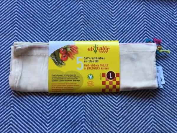 Groenten en fruit zakken van biologisch katoen