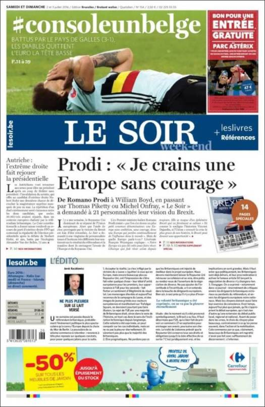 Le Soir - Console Belgium The Devils leave the Euros with their Heads Low