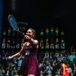 Amanda Sobhy points to the crowd following her victory in the quarter finals