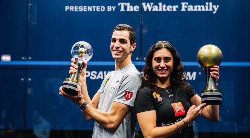 2020-21 PSA World Champions Ali Farag (left) and Nour El Sherbini (right)
