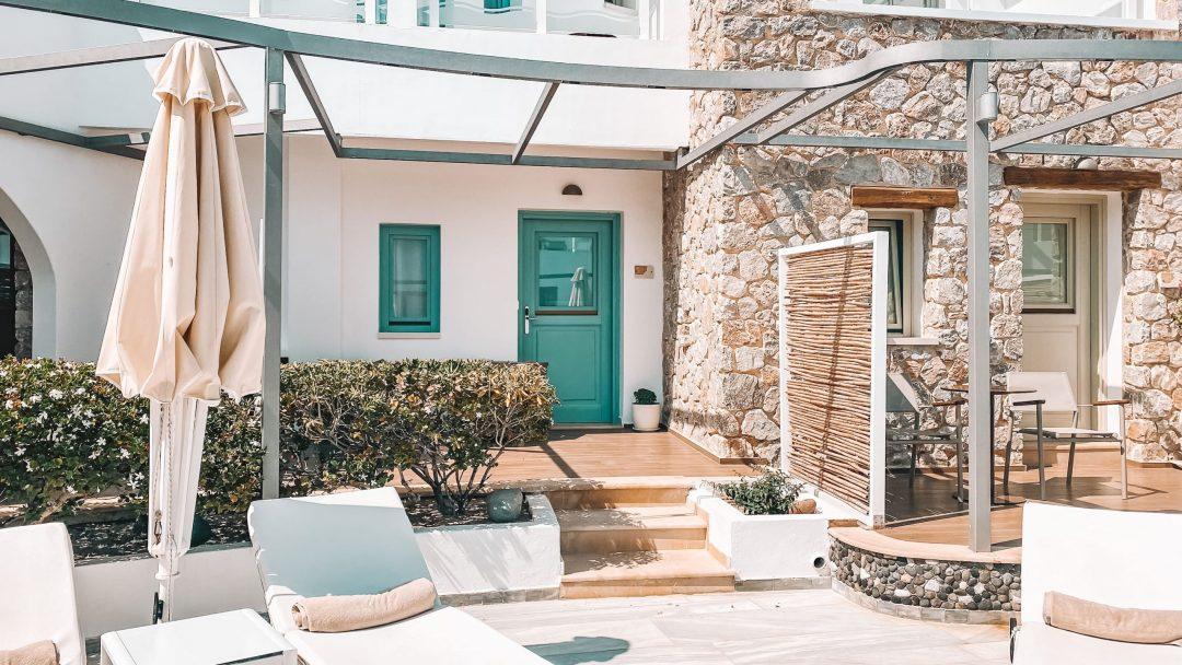 Hotel Room Entrance of La Mer Deluxe Spa Hotel in Kamari on Santorini, Greece
