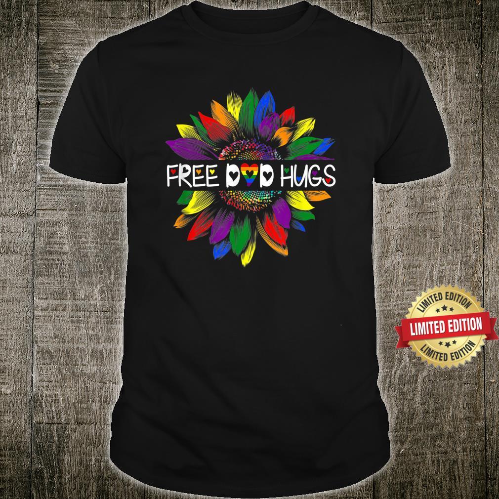 Free Dad Hugs Gay Pride LGBT Daisy Rainbow Flower Hippie Shirt