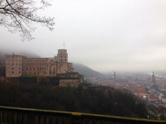 Heidelberg Castle (construction started in 1214)looking very imposing over the city below