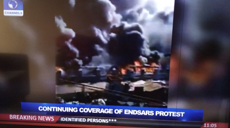 #EndSARS Protests: Sanwo-Olu's Family Home, NPA Building Burnt Down on Lagos Island