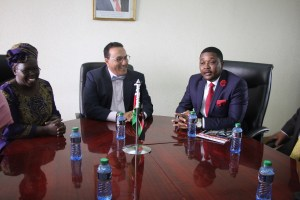 Hon Mzembi meets with his Kenyan counterpart - Hon Najib Balala  - Nairobi - 24 August 2016 Looking on is Kenyan Ambassador to Zimbabwe H E Ms Lucy Chelimo