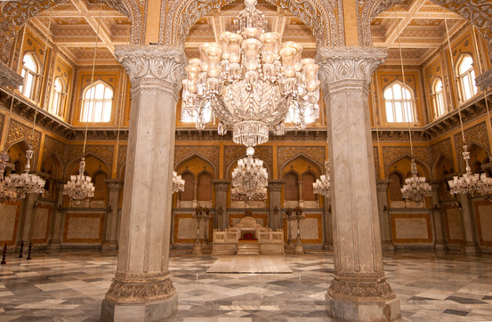 Inside the Chow Mohalla Palace in Hyderabad India