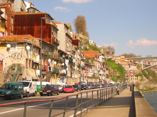 Street in the coastal town of Porto, Portugal