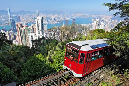 Tourist tram at The Peak in Hong Kong, China
