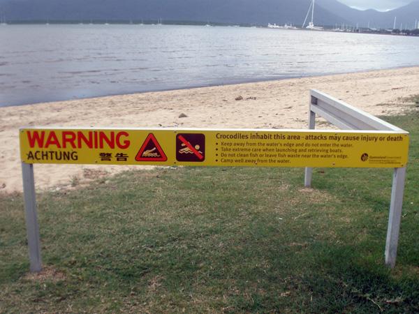 Crocodile warning sign on the beach boardwalk in Cairns Queensland Australia