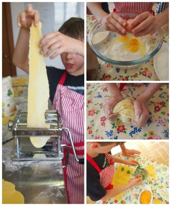 Kids cooking class Italy. Making pasta