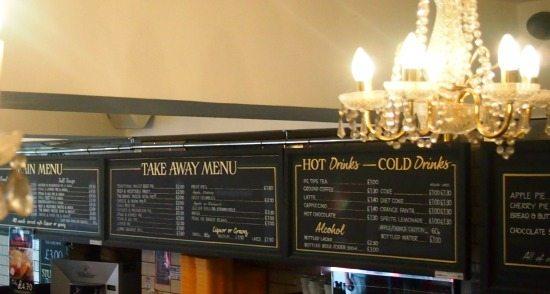 Goddards shop. pie and mash in London. British food.