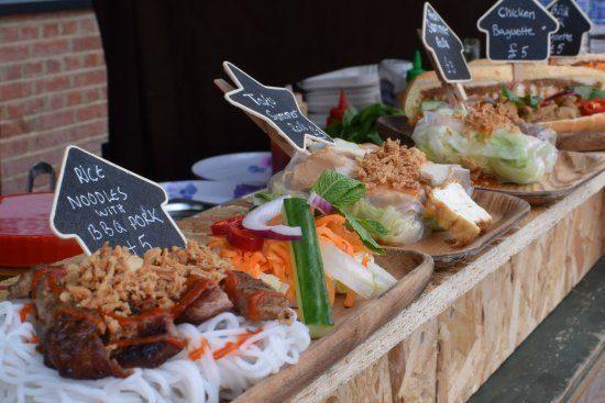 -London Street Food Greenwich Market Fresh spring rolls, pork and noodles