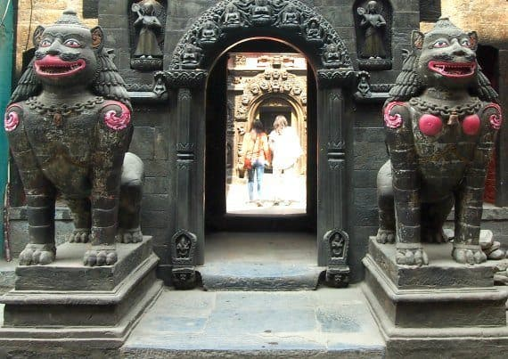 Creatures-guarding-the-gateway-to-the-Golden-Temple-Kathmandu-Nepal
